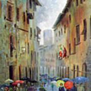 Rain in San Gimignano Art Print