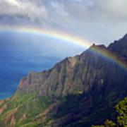 Rainbow Along The Na Pali Coast Kauai Hawaii From The Kalalau Lookout Art Print