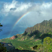 Rainbow At Kalalau Valley Art Print