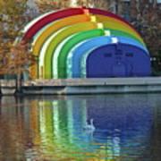 Rainbow Bandshell And Swan Art Print