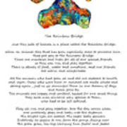 Rainbow Bridge Poem With Colorful Paw Print By Sharon Cummings Metal