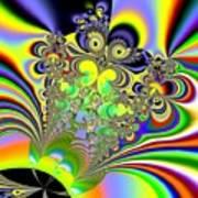 Rainbow Butterfly Bouquet Fractal Abstract Art Print