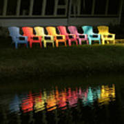 Rainbow Chairs  Art Print