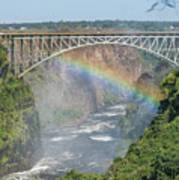Rainbow Crossing Gorge Beneath Victoria Falls Bridge Art Print
