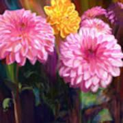 Rainbow Dahlias Art Print