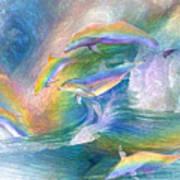 Rainbow Dolphins Art Print