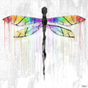 Abstract Dragonfly - White Rainbow Art Print
