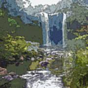 Rainbow Falls Green Art Print