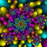 Rainbow Fireworks Fractal Art Print