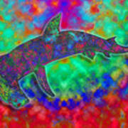 Rainbow Hammerhead Shark Art Print