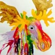 Rainbow Moose Head  - Abstract Art Print