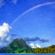 Rainbow Over Bora Bora Art Print