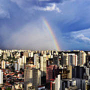 Rainbow Over City Skyline - Sao Paulo Art Print