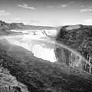 rainbow over Gullfoss waterfall Iceland Art Print