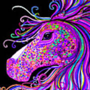 Rainbow Spotted Horse Head 2 Art Print