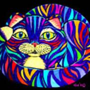 Rainbow Striped Cat 2 Art Print