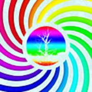 Rainbow Swirl Tree Art Print