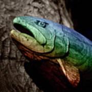 Rainbow Trout Wood Sculpture Art Print