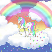 Rainbow Unicorn Clouds And Stars Art Print