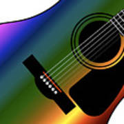 Rainbow Western Guitar Art Print