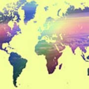 Rainbow world map yellow version photograph by jenny rainbow rainbow world map yellow version poster gumiabroncs Gallery