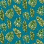 Rainforest Resort - Tropical Leaves Elephant's Ear Philodendron Banana Leaf Art Print