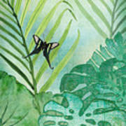 Rainforest Tropical - Philodendron Elephant Ear And Palm Leaves W Botanical Butterfly Art Print