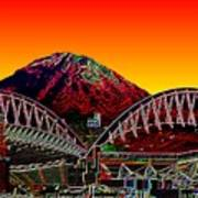 Rainier Over Qwest Field Art Print