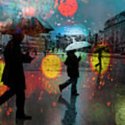 Rainy City Scene Art Print