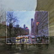 Rainy City Street Layered Art Print by Anita Burgermeister