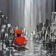 Rainy Day City Girl In Red Art Print