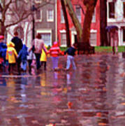Rainy Day Rainbow - Children At Independence Square Art Print