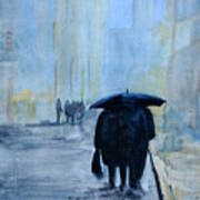 Rainy Evening Walk. Art Print