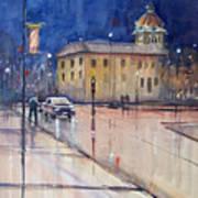 Rainy Night In Green Bay Art Print