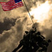 Raising The Flag At Iwo Jima 20130211 Art Print