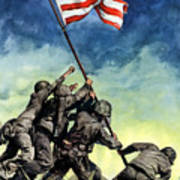Raising The Flag On Iwo Jima Art Print
