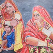 Rajasthani Ladies With Traditional Jewelry Art Print