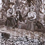 Ranch Women Picking Berries Historical Vignette Art Print