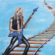 Randy Rhoads On The Tracks Of The Crazy Train Art Print