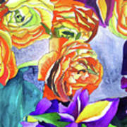 Ranunculus And Iris Art Print