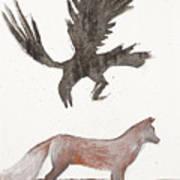 Raven And Old Fox Art Print
