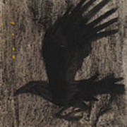 Raven In The Night With Ochre Art Print