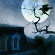 Raven Landing On Branch In Moonlight Art Print