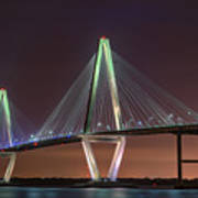 Ravenel Bridge Twilight Art Print