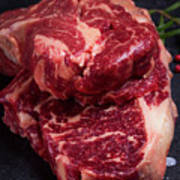 Raw Beef Steak Art Print