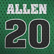 Ray Allen Boston Celtics Retro Vintage Jersey Closeup Graphic Design Art Print