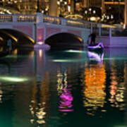 Razzle Dazzle - Colorful Neon Lights Up Canals And Gondolas At The Venetian Las Vegas Art Print