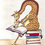 Reading Giraffe Art Print
