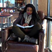 Reading In Starbucks Art Print