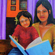 Reading With Mom Art Print